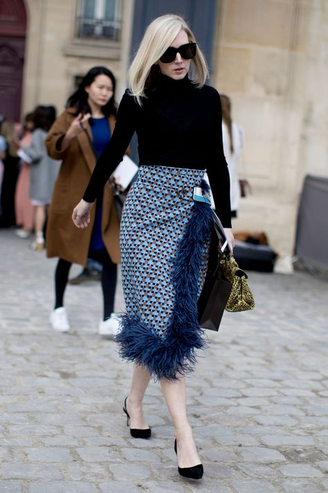 The Best Street Style At Paris Fashion Week Autumn Winter 2017 modest black turtle neck patterned feathred midi skirt.