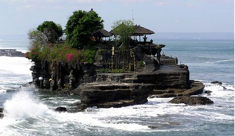 Tanah Lot, West side of Bali Indonesia Hindu Temple from Natural rock formation in the ocean. Very spiritual visit there August 2013 :~)