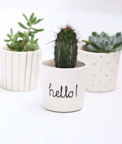 Succulent Planter Small Plant Pot Black By Berriesforbella