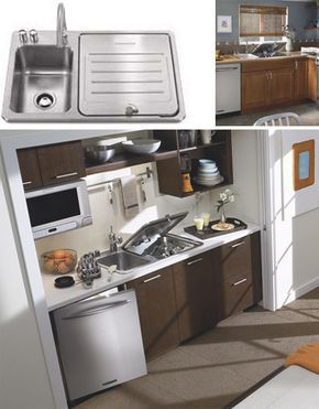 I Love Tiny Homes This Small Kitchen Appeals To Me It Even Has A Dish Washer Tucked Int Kitchen Design Small Space Kitchen Design Small Small Space Kitchen