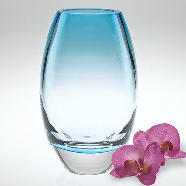 Radiant Aqua Blue European Mouth Blown Lead Free Crystal 9 In 2021 Blue Glass Vase Vase Modern Vase