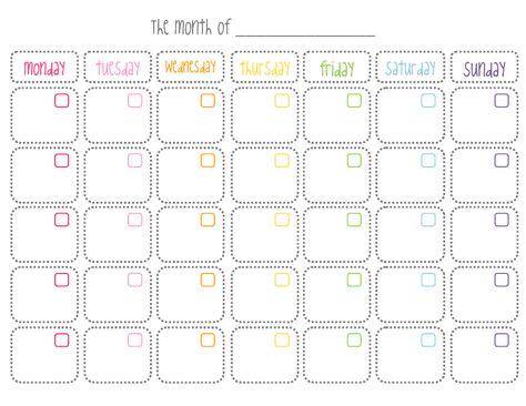 Calendario mensual en blanco, imprimible gratuito Blank monthly calendar free printable