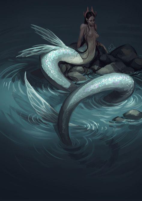 ArtStation - long mermaid, Ester Zejn A Naga mermaid