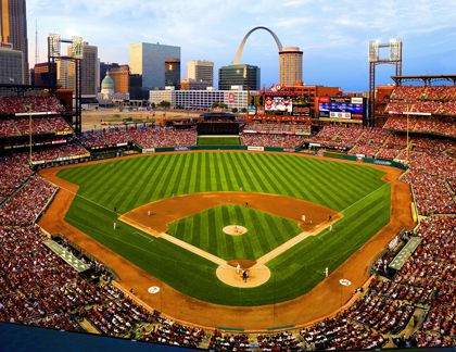 Busch Stadium in St. Louis, Missouri at a St. Louis Cardinals Baseball Game. The cardinals won the World Series two seasons ago also. This picture contains the most important aspects of St Louis for me.