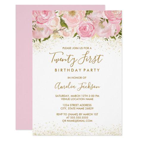 Pink Gold Sparkle Rose 21st Birthday Invitation RoseBirthdaystPink