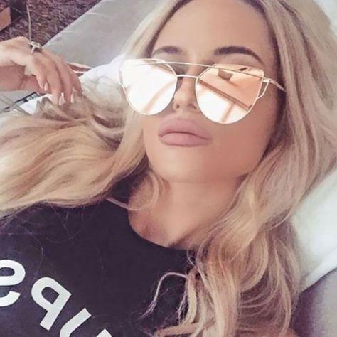 ROSE GOLD Cat Eye Women Ladies Sunglasses Mirrored Aviator Reflective Retro  UK 2767d47a0d