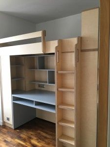 lit mezzanine sur mesure pour grand ado avec espace bureau et ...