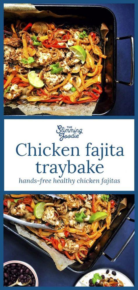 healthy Slimming World chicken fajita traybake sheet pan dinner