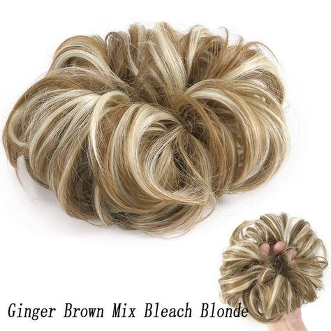 Real Hair Messy Bun Scrunchie Curly Hairpiece  Extension For Women - #8