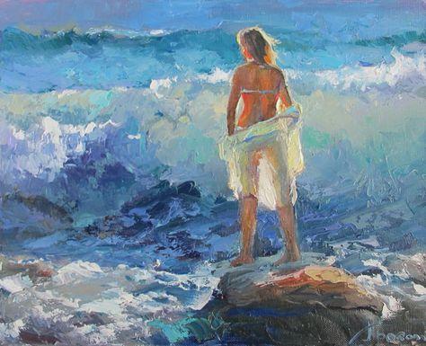 120 Ideas De Mujer Y El Mar Arte Pintura Pinturas Hermosas Arte