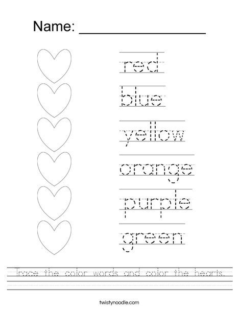 Trace The Color Words And Color The Hearts Worksheet Kindergarten Learning Kindergarten Worksheets Homeschool Kindergarten