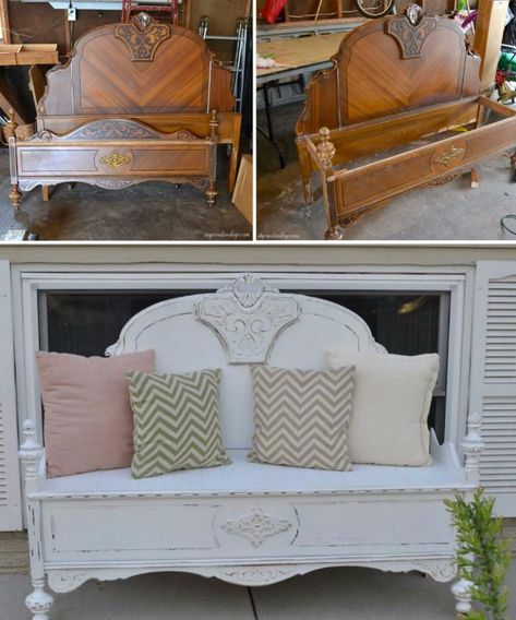 8 stunning ideas for turning old headboards into a bench with rustic charm Redo Furniture, Furniture Design Modern, Headboard Benches, Furniture Diy, Furniture Projects, Creative Furniture, Refurbished Furniture, Home Decor, Recycled Furniture