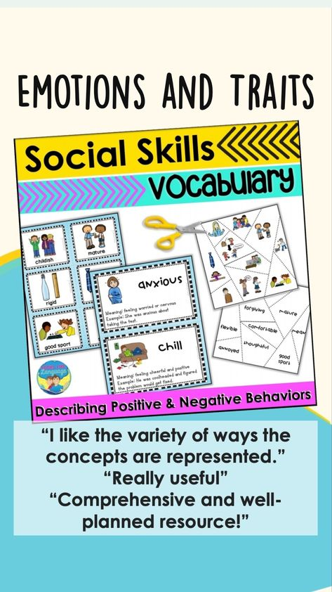 Social Skills Vocabulary - Emotions and Traits