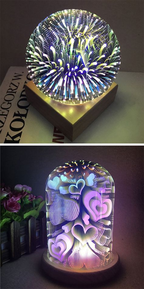 Home Decor Ideas For Bedroom 3d Colourful Glass Shade Hearts Night Light Night Light Led Night Light Led Night Lamp