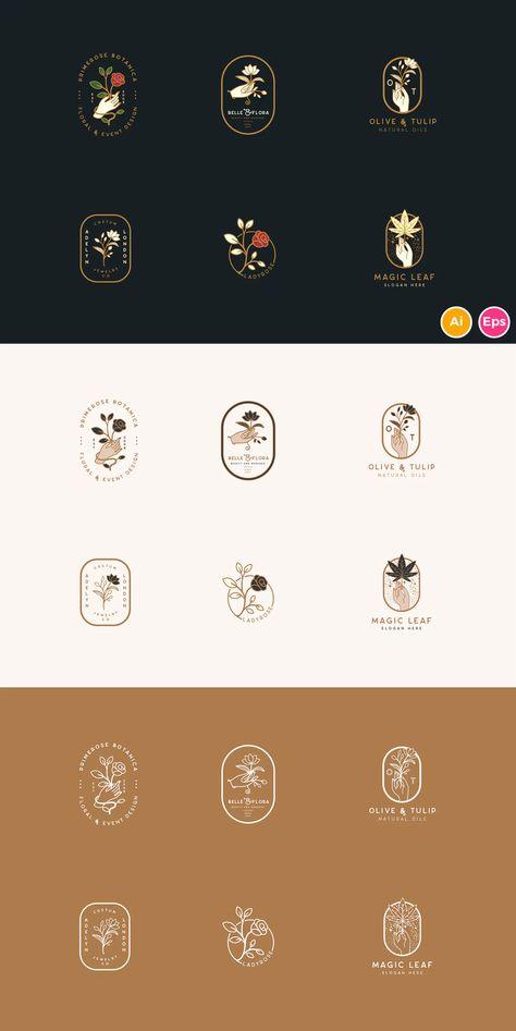 Elegant Floral Botanical Hand Logos Template AI, EPS