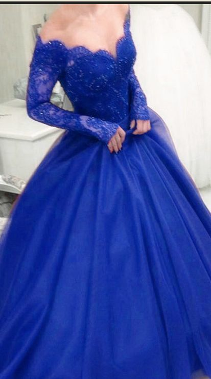 Royal Blue Off Shoulder Ball Gown Evening Dress Lace And Tulle Formal Dress Prom Dresses Long With Sleeves Prom Dresses For Teens Prom Dresses With Sleeves