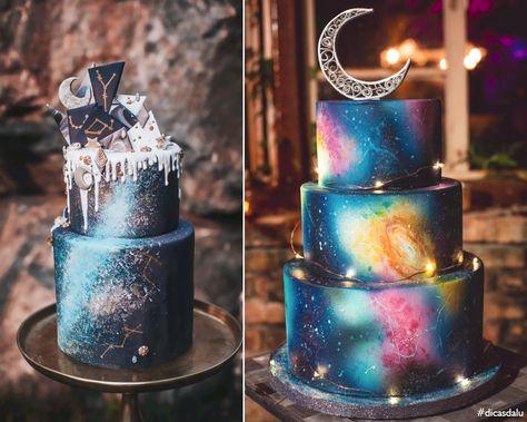 Inspiração 15 anos: festa de debutante tema galaxy, galáxia, estrela, universo / Decoração, convite, doces, lembrancinhas, look, maquiagem, cabelo, penteado, bolo / Preto, azul, lilás, roxo, rosa, branco