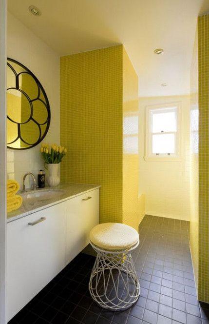 Trendy Bath Room Yellow Grey Subway Tiles 29 Ideas Bath Yellow Bathroom Decor Yellow Bathrooms Retro Bathrooms