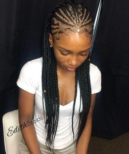 One Point Fulani Braids With Zigzag Parts Hairbraidingstyles