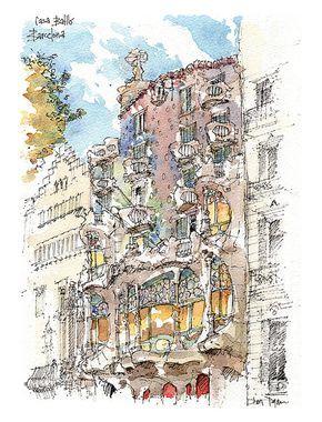 Aquarell Druck Von Der Katalanischen Illustrator Daniel Heiden