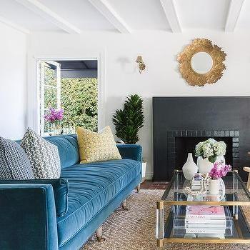 Alyssa Rosenheck Blue Velvet Couch On Diamond Pattern Jute Rug Blue Living Room Living Room Designs Living Room Inspo