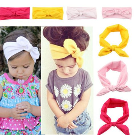 Turban Rabbit Headband Baby Toddler Cute Girl Kids Bow Hairband Headwear