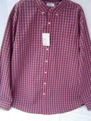 New Mens Croft Barrow Red Tartan Long Sleeve Shirt Size Xxl