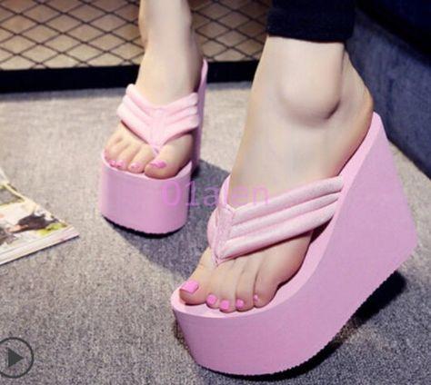 10df26d7278ebe Hot Womens Super High Platform Wedge Sandals Flip Flops Thong Beach Summer  Shoes
