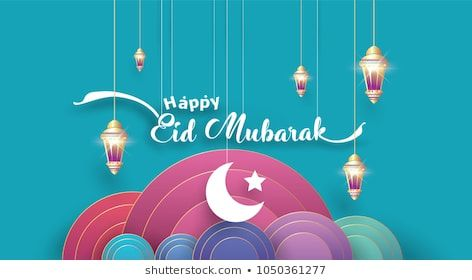Eid Mubarak Greeting Card Illustration Ramadan Kareem Cartoon