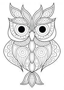 Coloring Owl Simple Patterns 2 Buku Mewarnai Lukisan Hewan Burung Hantu