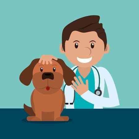 Feliz Medico Veterinario Relacionados Con Iconos Ilustracion Imagen Vectorial Veterinaria Amor De Perro Veterinario Medico