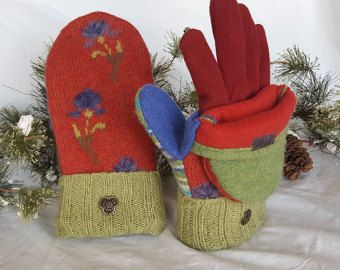 ON SALE!!!!! Felted wool recycled sweater Glittens