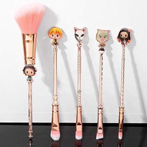 Professional Anime Makeup Brushes Set - 5pcs Cosmetic Anime Peripheral Okuno Cosplay Gift Makeup Brush Set For Women - Demon Slayer Rose Gold