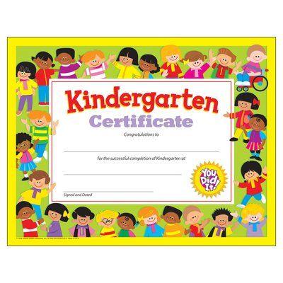 Kindergarten Diploma Pre-K–Kindergarten Certificates & Diplomas
