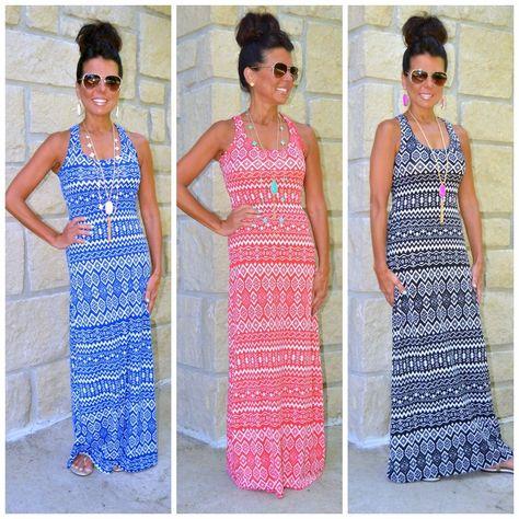0551e77a7f2 Tribal ethnic print boho summer knit racerback maxi dress blue coral black  s-3x