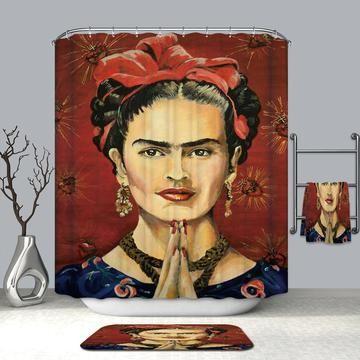 Frida Kahlo Illustration Quotes Shower Curtain Bathroom Decor