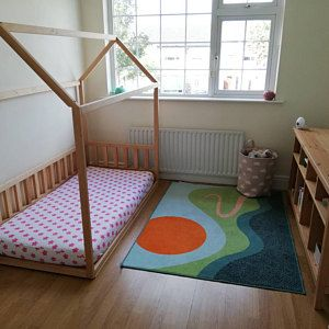 Painted With Eco Paint Bunk Bed With Trundle Montessori Floor Etsy Toddler House Bed Painted Bunk Beds Bunk Bed With Trundle