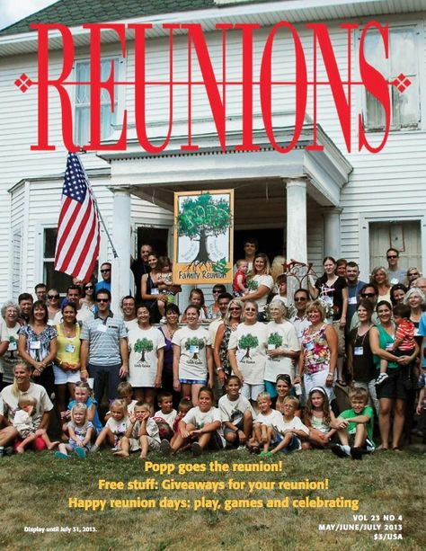 Reunions Magazine summer issue now available! Read online for free!   You'll find lots to inspire your planning. There are games that encourage play at your reunion. Dean Miller, the Hospitality Answerman, makes very important points about hotel selection and negotioation. Sixteen-year-old Miranda Hammer makes some very wise suggestions about making sure teens enjoy reunions. USS Sellers DDG-11 and Military Brats reunions also are celebrated, as are many more families and classes.