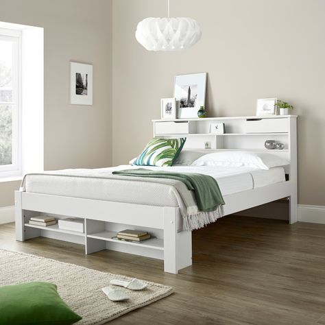 Fabio White Wooden Bookcase Storage Bed Frame Only 4ft6 Double