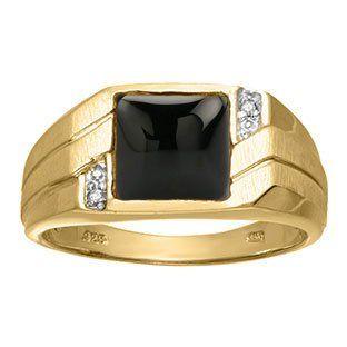 Men's Square Black Onyx Diamond Ring In Yellow Gold