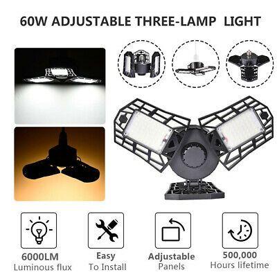Deformable Tri-Fold Lamp LED Adjustable Three Light Garage High Bay Light 60 W