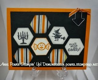Stampin' Up! ... handmade Halloween card from Stamps, Paper, Ink Create! ... negative space hexagons till with Halloween images or striped paper ... luv it!