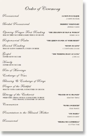 Wedding Bulletin Wedding Program Wording Sample Juve