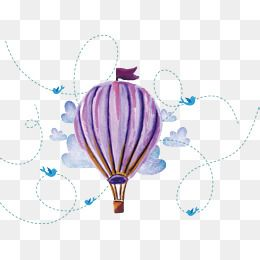Watercolor Hand Painted Hot Air Balloon Vector Png Hot Air