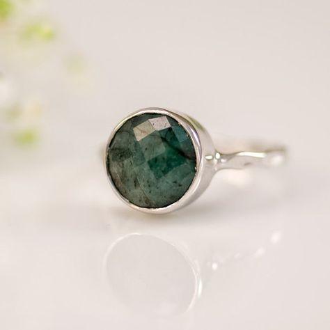 Emerald Rings Raw Emerald Ring - Gemstone Ring - Silver Ring - Bezel Ring - May Birthstone Ring - Mothers Day Gift via Etsy Raw Emerald Ring - May