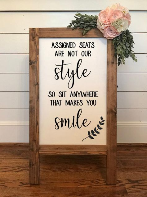 Assigned Seats are Not Our Style, No Seating Plan, Wedding Seating Sign I. - Assigned Seats are Not Our Style, No Seating Plan, Wedding Seating Sign I… – Wedding decorations - Wedding Seating Signs, Diy Wedding Signs, Diy Wedding Decorations, Diy Signs, Wedding Reception Signs, Wedding Backdrops, Wedding Sign In Ideas, Wedding Bells, Outdoor Wedding Seating