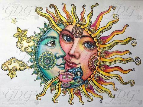Pin by Hester Dowdy on Whimsical Sun, Moon & Stars | Sun painting, Sun drawing, Sun art