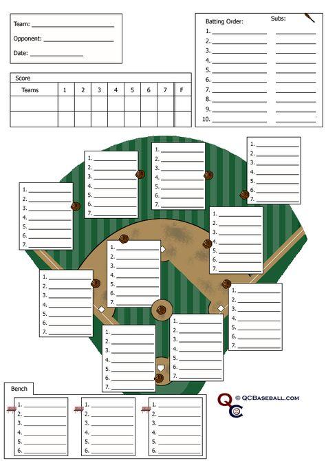 Baseball Line UP - custom designed for 11 players Useful for - wrestling score sheet