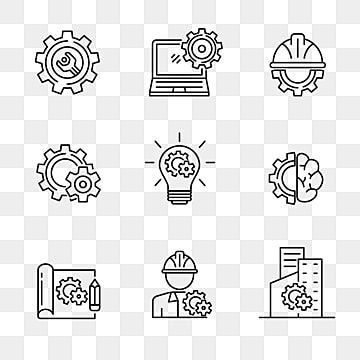 Set Of Engineering Related Icon With Outline Style Gear And Engineering Vector Illustration With Simple Black Line Design Engineering Engineer Gear Png And V In 2021 Icon Gear Icon Set Vector