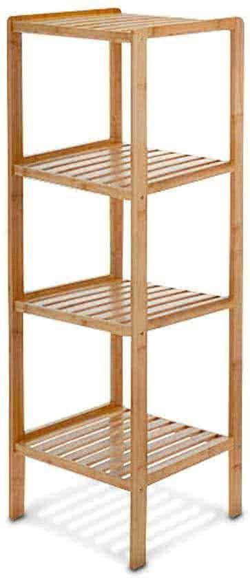 Relaxdays Badkamerkast Bamboe Hout Stellingkast 4 Planken Badkamer Open Kast Meubel Stellingkast Open Kasten Badkamer